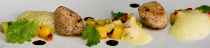 Jakobsmuschel mit Mango-Avocado-Salat und Orangen-Kokos-Schaum